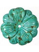 Carved Turquoise Flowers (Drilled Centrally)