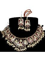 Cordovan Mughal Necklace and Earrings with Golden Accents