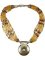 Citrine and Amethyst Bunch Necklace with Dimple Pendant