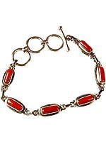Coral Bracelet with Toggle Lock