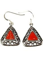 Coral Triangular Earrings