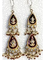 Cordovan Double-Drop Earrings with Golden Accents