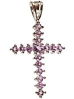 Cross Pendant of Faceted Amethyst