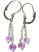 Dangling Earrings of Fine Cut Amethyst