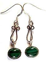 Dangling Malachite Earrings