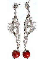 Designer Dangling Sponge Coral Earrings with Pearl