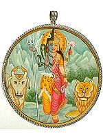 Double Sided Pendant of Ardhanarishvara (Shiva - Shakti) and Om (AUM)