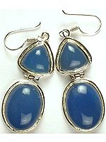 Double Stone Blue Chalcedony Hinged Earrings