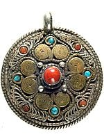 Double-Sided Mandala Pendant with Coral and Turquoise