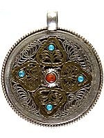 Double-sided Mandala Pendant with Filigree and Gemstones (Turquoise, Coral and Lapis Lazuli)