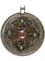 Double-sided Mandala Pendant with Filigree and Gemstones (Turquoise, Coral and Lapis Lazuli)