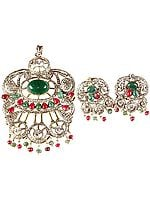 Emerald and Ruby Victorian Pendant with Earrings