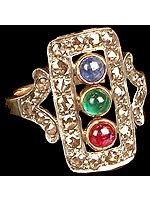 Emerald, Ruby and Sapphire Victorian Ring