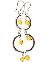 Faceted Amber Designer Earrings