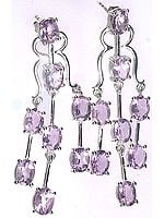 Faceted Amethyst Dangling Post Earrings