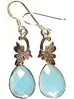 Faceted Blue Chalcedony Earrings