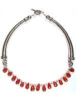 Faceted Carnelian Drop Choker