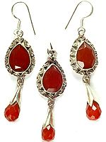 Faceted Carnelian Pendant with Earrings Set