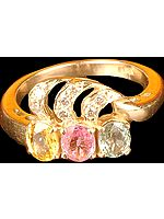 Faceted Citrine, Pink Tourmaline and Aquamarine Ring