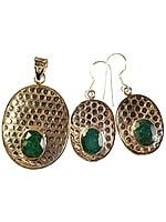 Faceted Emerald Pendant with Pearl and Matching Earrings Set