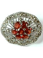 Faceted Garnet Brooch with Marcasite