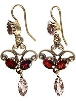 Faceted Garnet Earrings with Amethyst