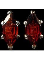 Faceted Garnet Marquis Earrings