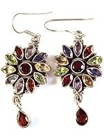 Faceted Gemstone Blooming Flower Earrings with Charms (Garnet, Citrine, Iolite, Amethyst and Peridot)