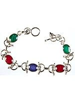 Faceted Gemstone Bracelet (Emerald, Ruby and Sapphire)