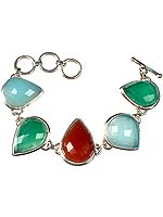 Faceted Gemstone Bracelet (Peru Chalcedony, Green Onyx, Carnelian, Peru Chalcedony and Green Onyx)
