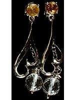 Faceted Gemstone Earrings (Crystal and Citrine)