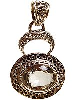 Faceted Green Amethyst Pendant with Lattice Bale