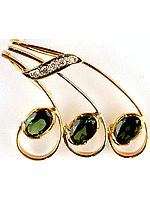 Faceted Green Tourmaline Designer Pendant with Diamonds