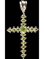 Faceted Peridot Cross Pendant