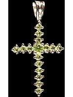 Faceted Peridot Cross Pendant