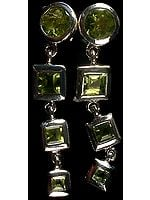 Faceted Peridot Dangling Earrings