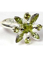 Faceted Peridot Flower Ring