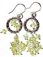 Faceted Peridot Hoop Chandeliers
