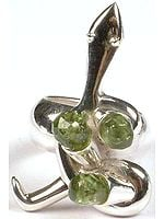 Faceted Peridot Serpent Ring
