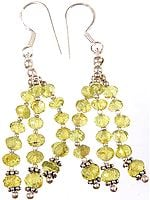 Faceted Peridot Shower Earrings