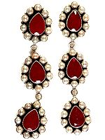 Faceted Ruby and Pearl Earrings