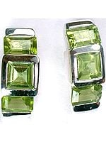 Faceted Triple Peridot Earrings