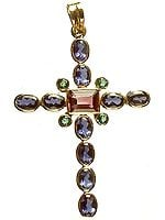Faceted Water Sapphire & Tourmaline Cross Pendant
