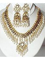 Faux Pearl Shower Kundan Necklace with Earrings Set