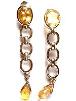 Fine Cut Citrine Dangling Earrings