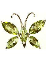 Fine Cut Peridot Butterfly Pendant