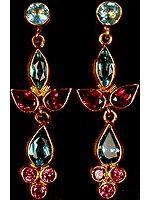 Fine Cut Pink Tourmaline & Blue Topaz Post Earrings