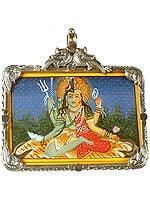 Four-Armed Ardhanarishvara with  Parrot Pair Atop