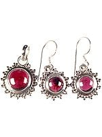 Garnet Pendant with Matching Earrings Set