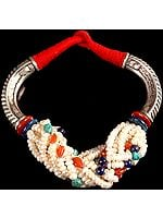 Gemstone Ethnic Necklace (Pearl with Carnelian, Turquoise and Lapis Lazuli)